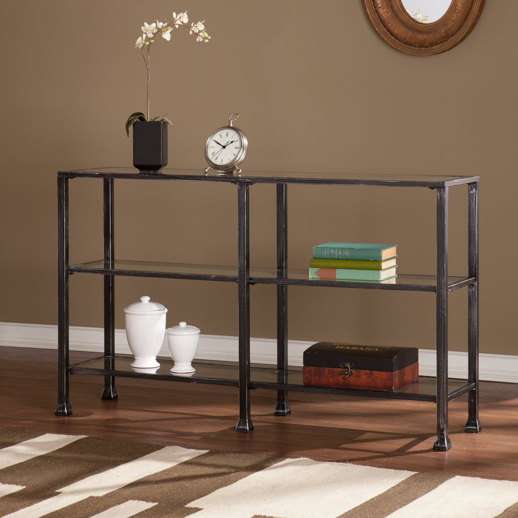 Metal/Glass 3-Tier Console Table - Distressed Black  -  CM8771