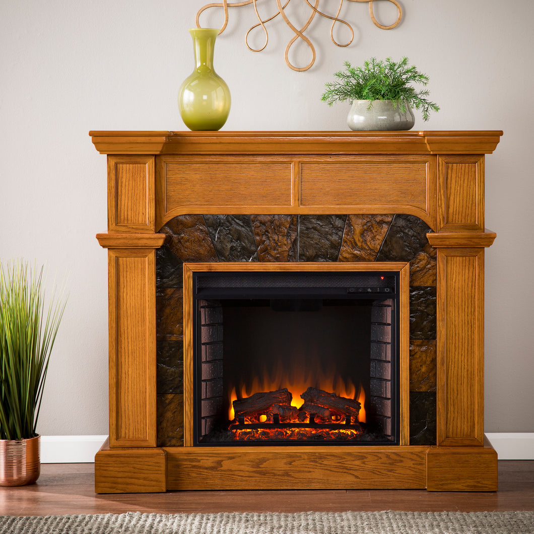 Cartwright Corner Electric Fireplace - Mission Oak  -  FE9285