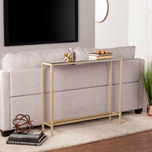 Load image into Gallery viewer, Darrin Narrow Mini Console Table w/ Mirrored Top - Gold  -  CM9297