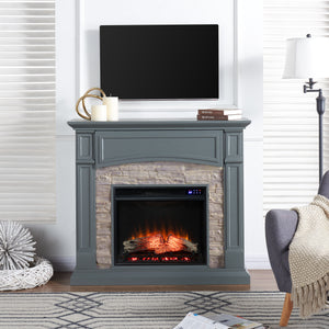 Seneca Electric Media Fireplace - Gray