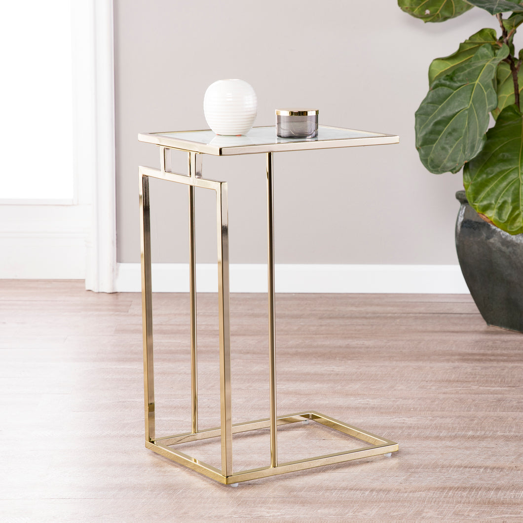 Colbi Glass-Topped C-Table - Glam Style - Champagne w/ White Faux Marble Glass  -  OC9841