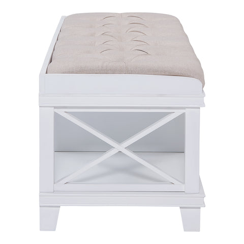 Image of Wyndcliff White Upholstered Storage Bench