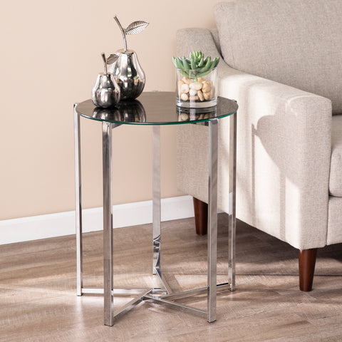 Image of Dransill Round End Table w/ Faux Marble Glass Top