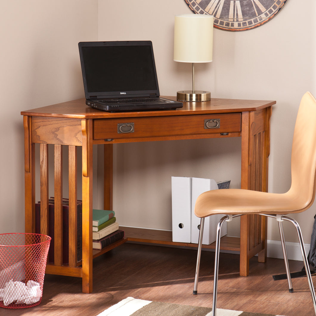 Corner Computer Desk - Mission Oak  -  HO6641