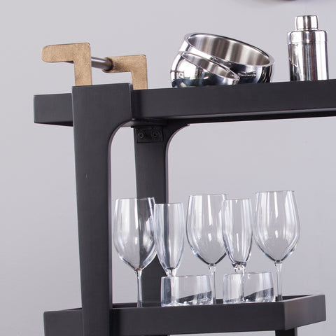 Holly & Martin Zhori Midcentury Modern Bar Cart - Black