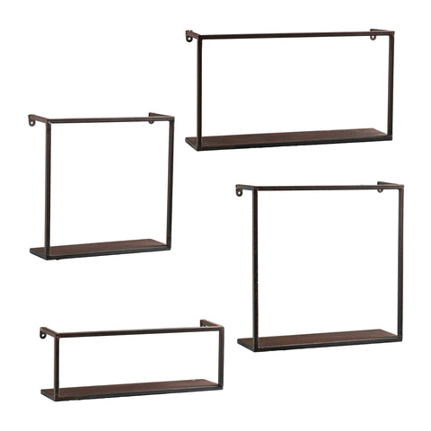 Image of Zyther Metal Wall Shelves - 4pc Set