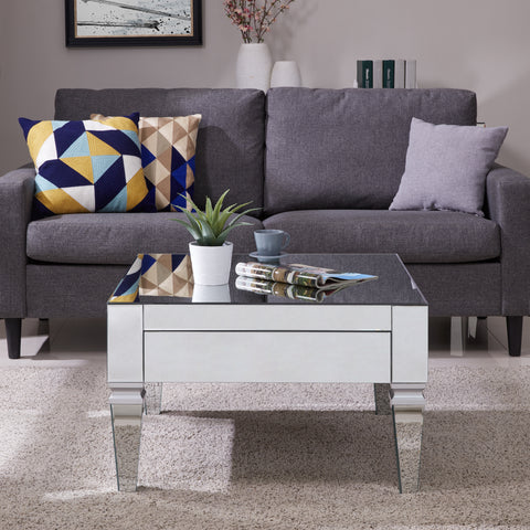 Image of Darien Square Mirrored Cocktail Table - Glam Style - Mirrored w/ Matte Silver