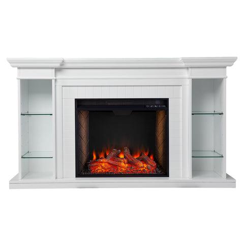 Image of Henstinger Alexa Smart Fireplace w/ Bookcase
