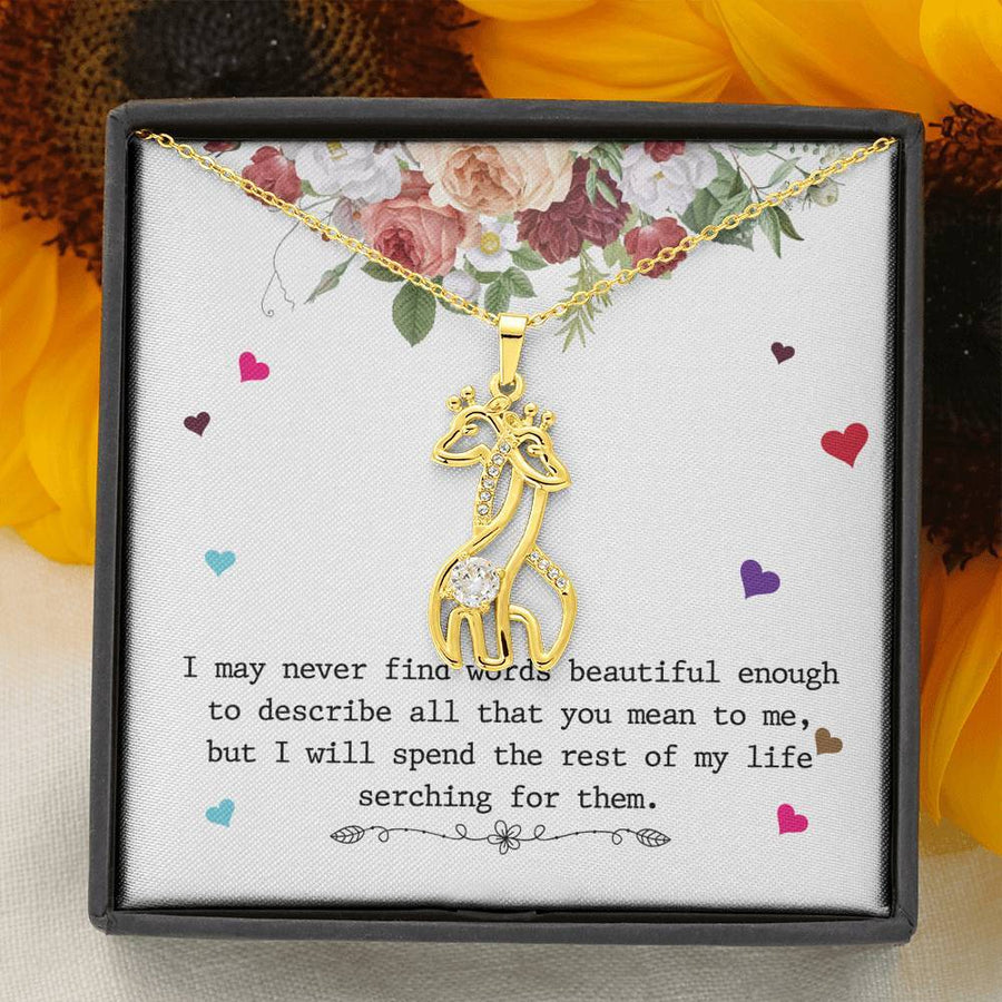 Never Find The Words - Graceful Love Giraffe Necklace