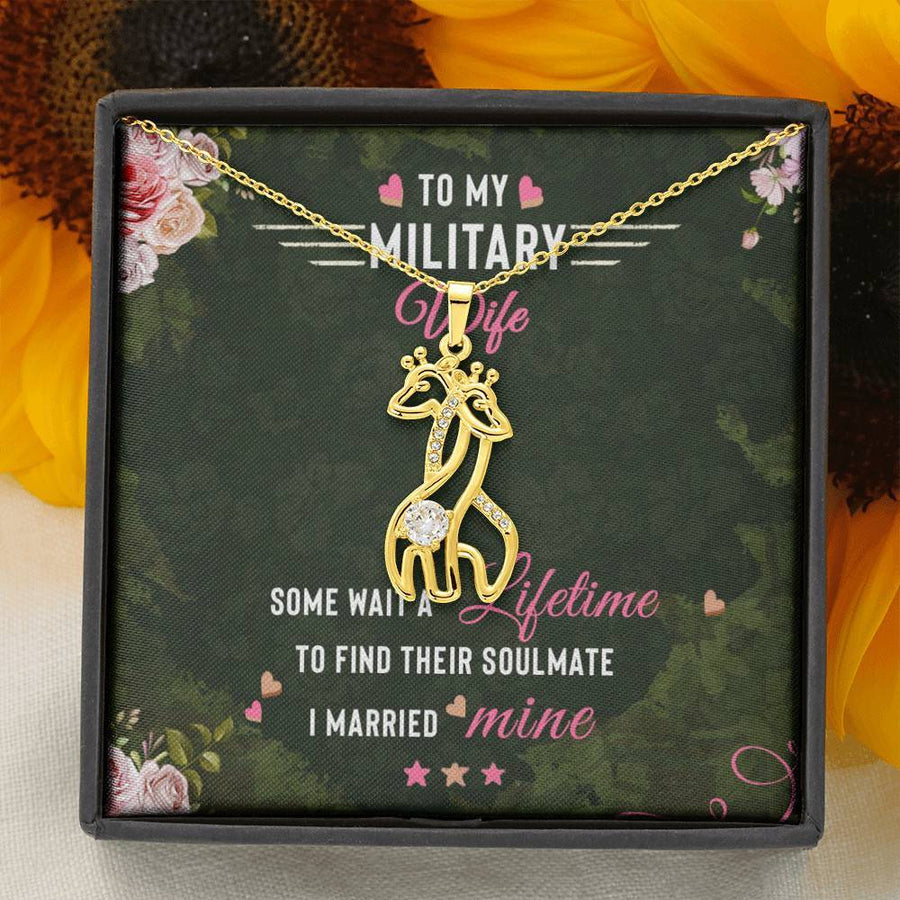 To My Military Wife - Graceful Love Giraffe Necklace