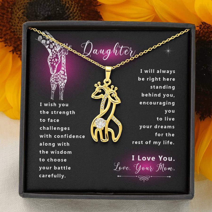 Daughter I wish you the strength ★ Giraffe Necklace ★ Great Gifts for Birthday, Thanksgiving and Christmas for Daughter.
