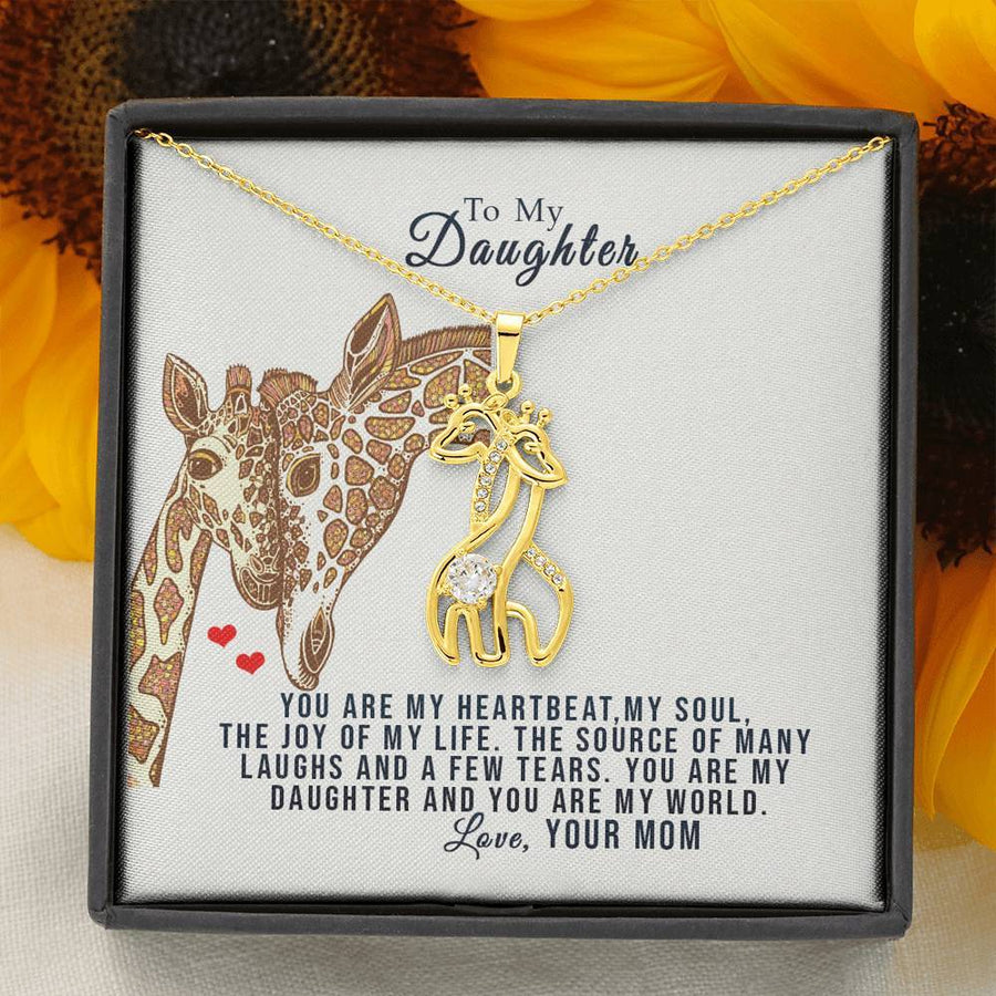 Daughter You Are My World Giraffe Necklace