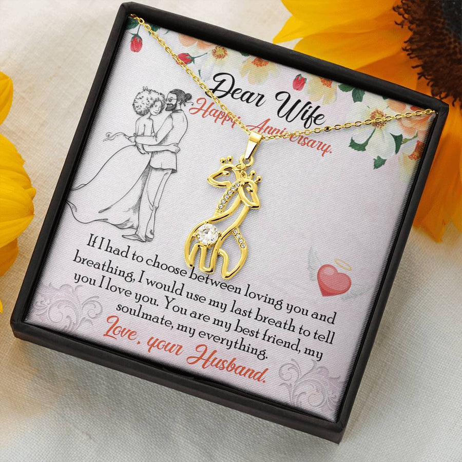 Anniversary for Wife - Graceful Love Giraffe Necklace