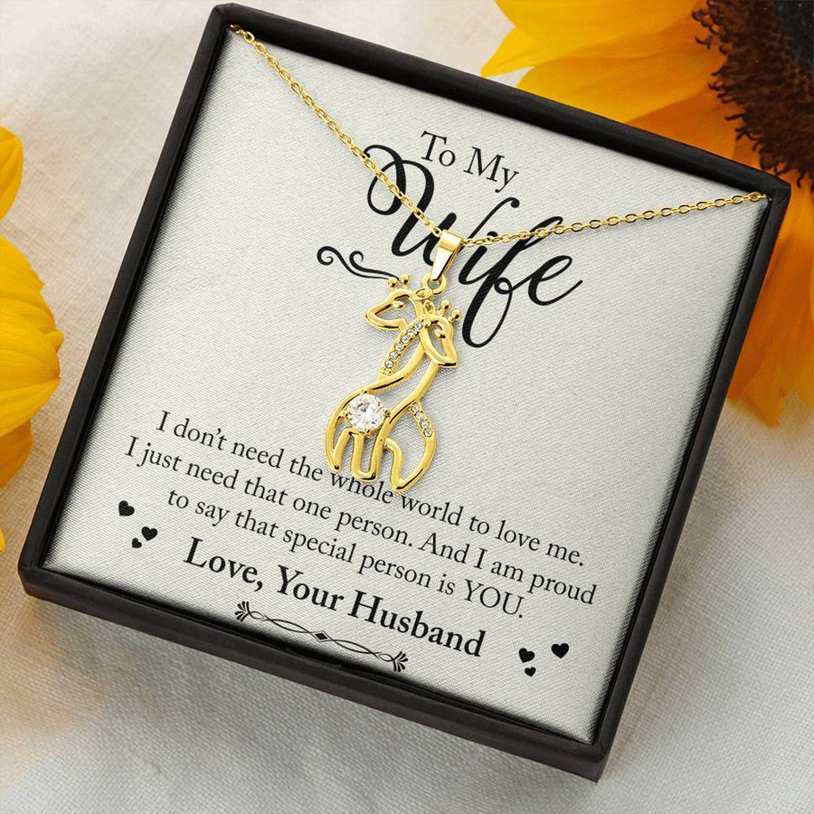 TO My Wife - Love Your Husband - Graceful Love Giraffe Necklace