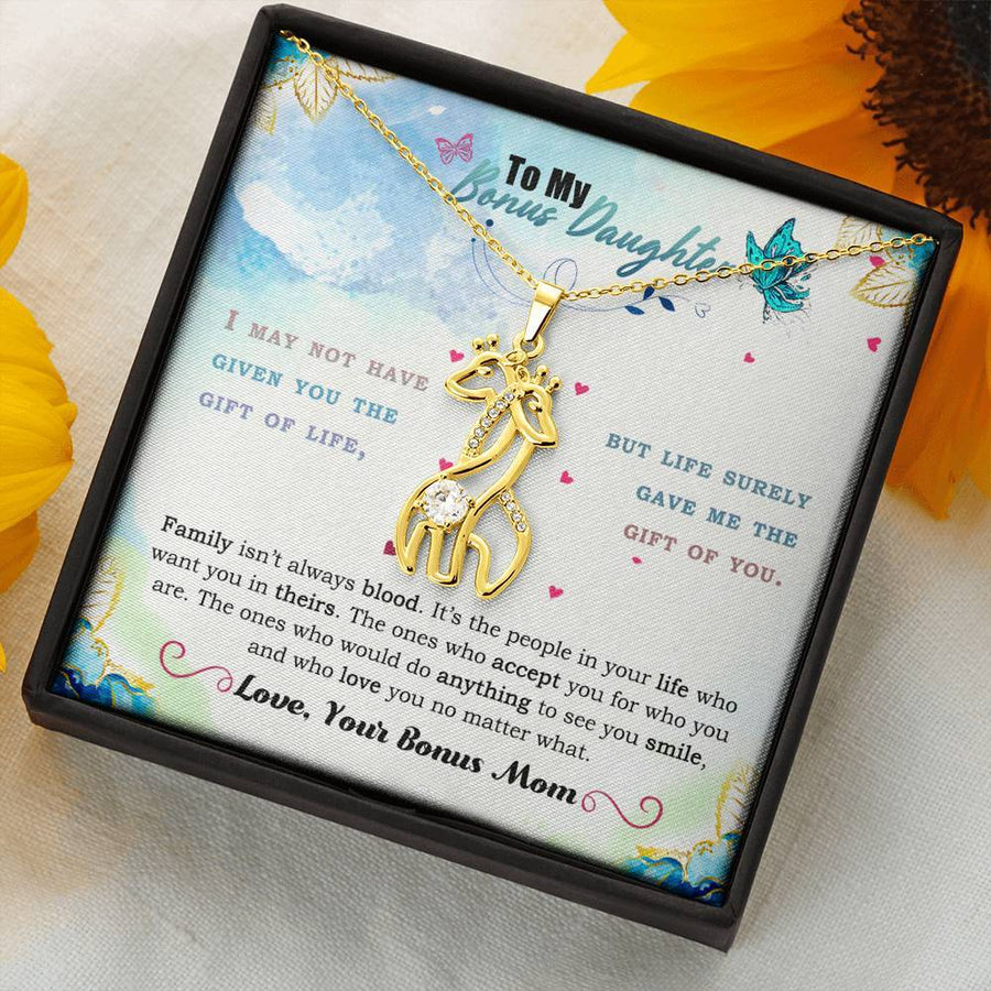 To My Bonus Daughter - Life Gave Me The Gift of You - Graceful Love Giraffe Necklace