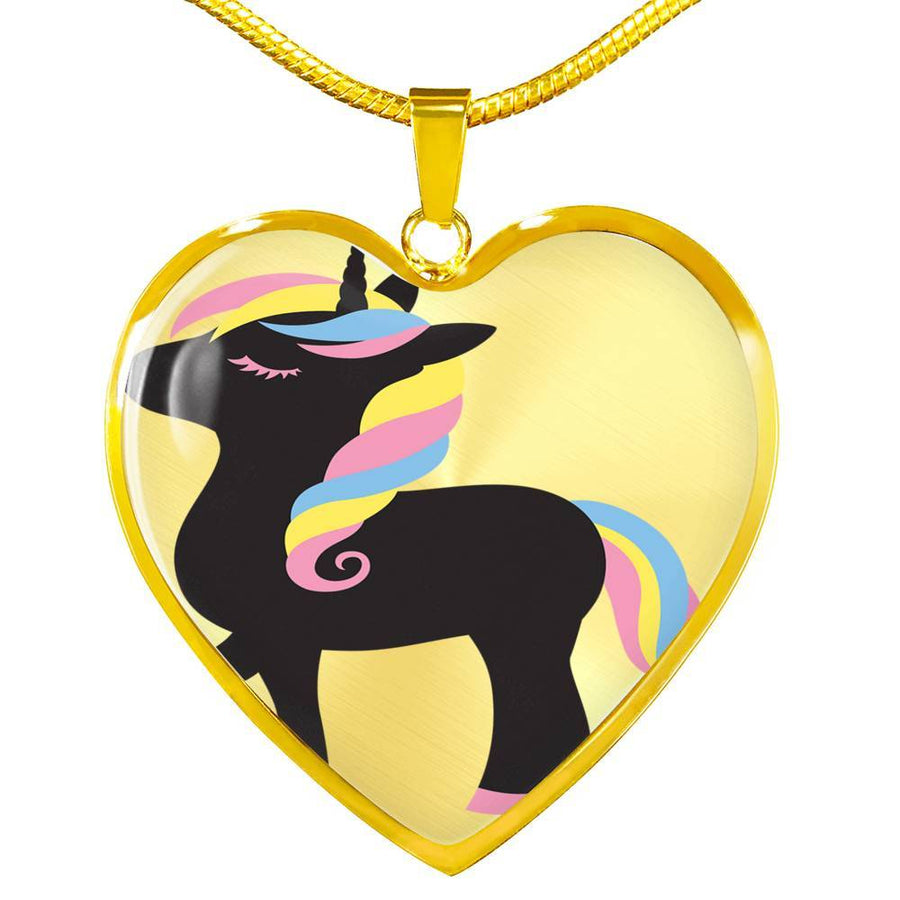 Unicorn Love Necklace Pendant | Unicorn Princess Jewellery | Girls Gift | Black Unicorn Pendant Necklace | Personalised Necklace
