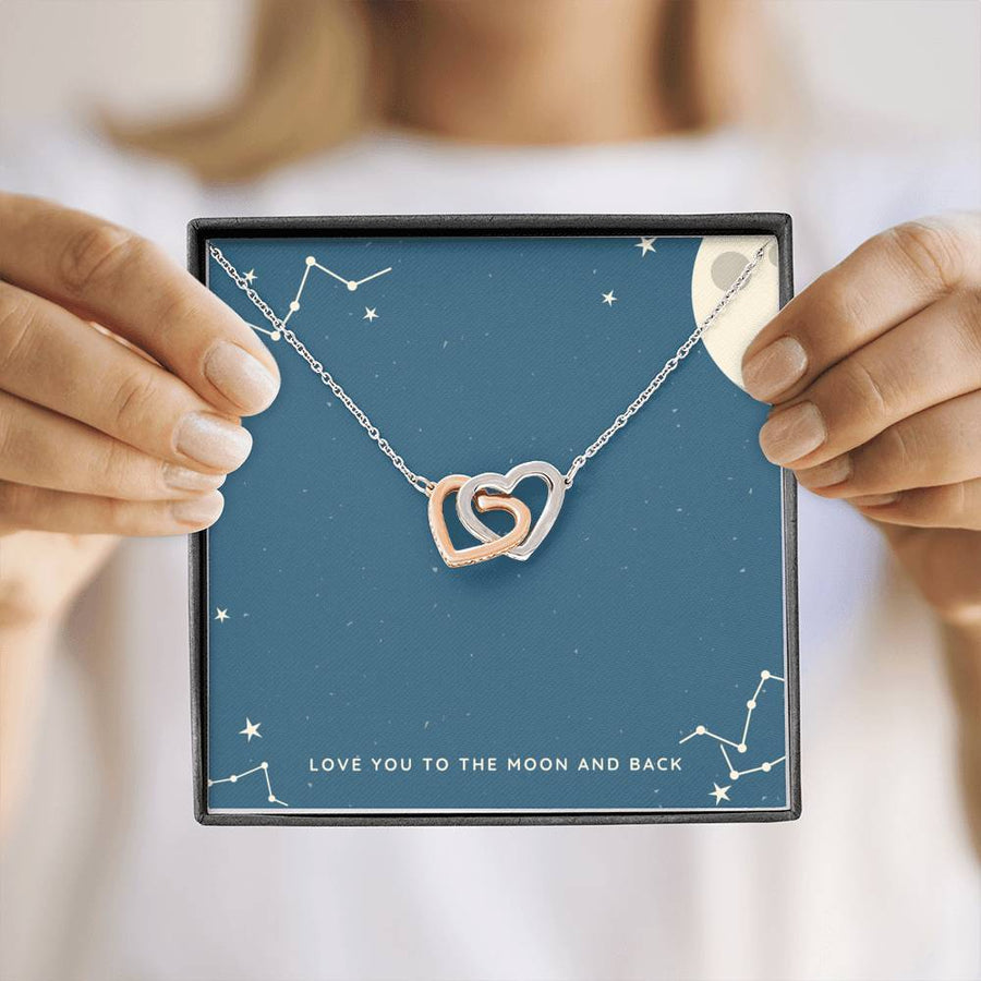 Love You to The Moon and Back Two Necklace