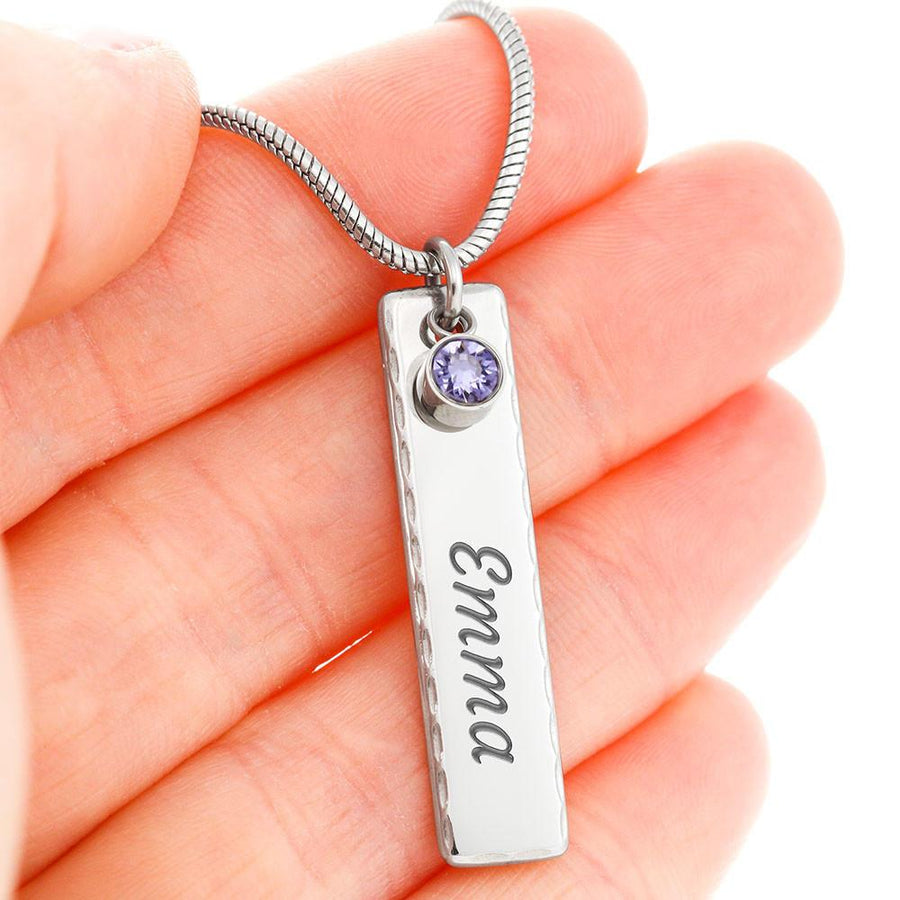 Birthstone Name Necklace With On Demand Message Card