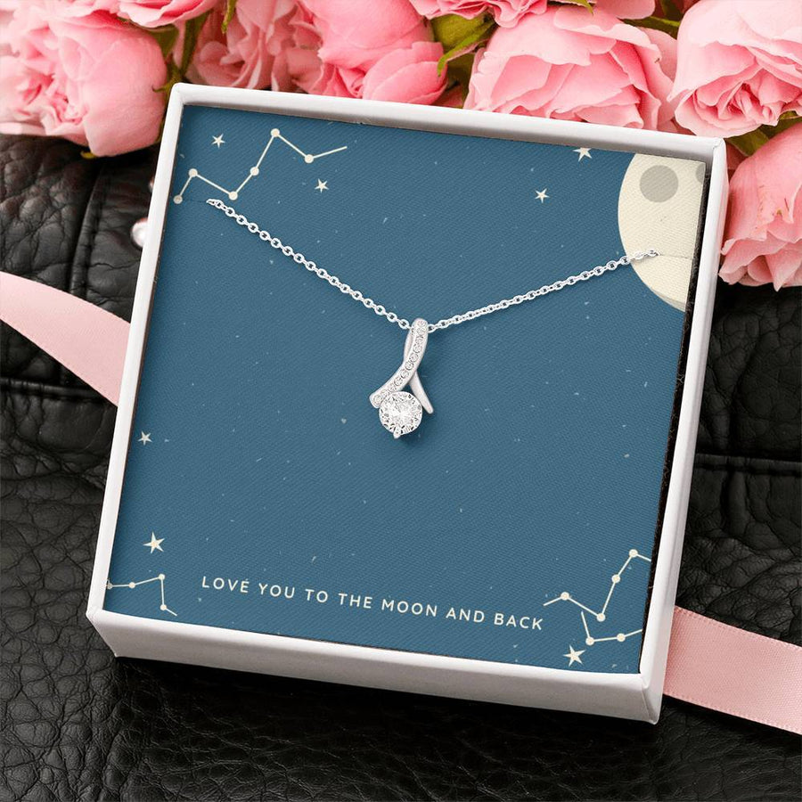 Love You to The Moon and Back Ribbon Necklace