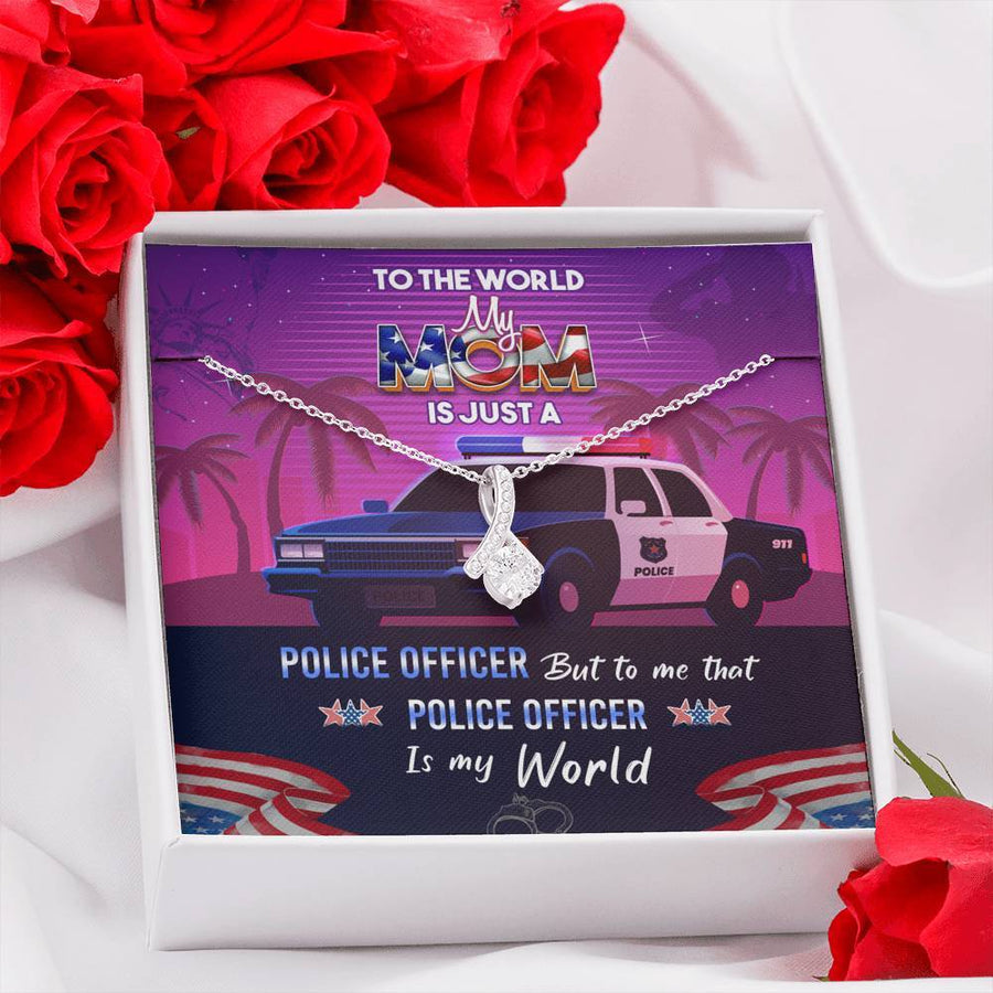From Son or Daughter for Mother (Police Officer) Gift Necklace with Love Message