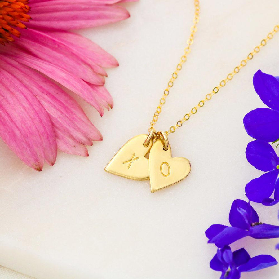 Reminder to my Best Friend - Hand Stamped Hearts Necklace