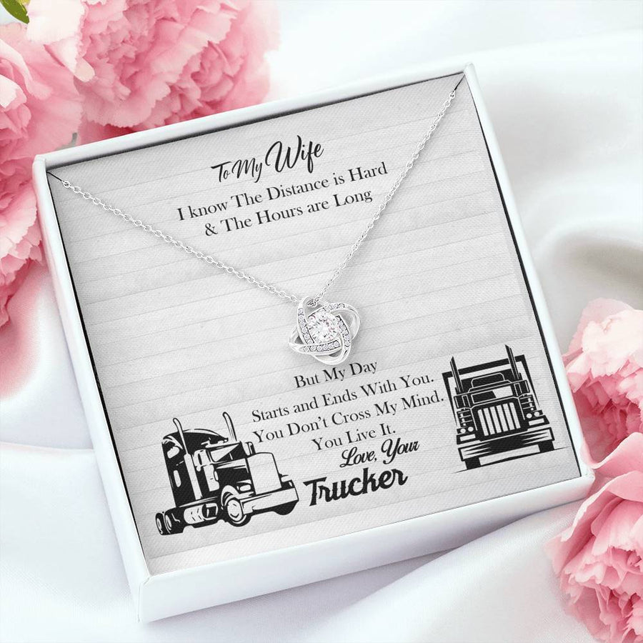 Truckers Wife Love Knot Necklace, To My Wife Love Your Trucker, Necklace for Trucker Wife ,Truck Drive