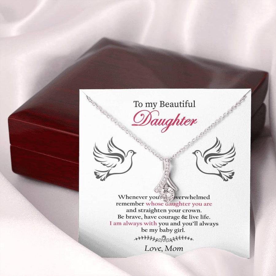 To My Daughter Alluring Beauty Necklace, Gift For Daughter From Mom, Daughter Appreciation Gift, Birthday Gift, Christmas Gift, Gift Of Love