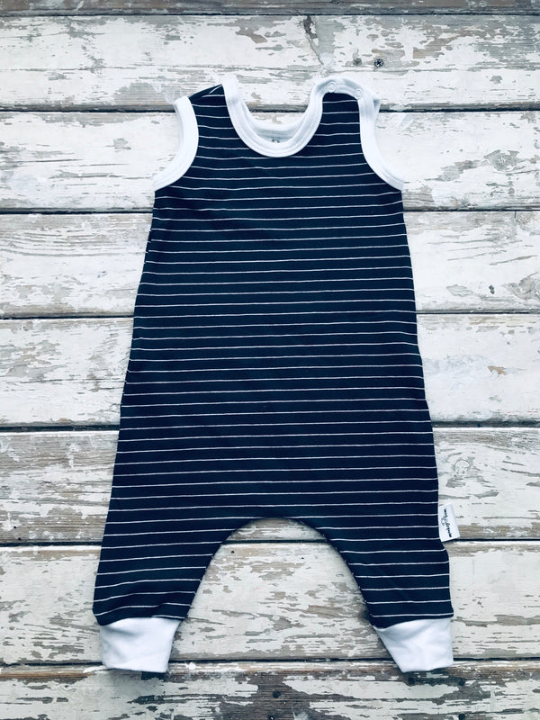 Jumpsuit:  Navy Stripe