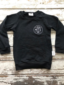 Sweatshirt:  Monkeybum Badge Black (6-12 months only)