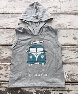 Hooded Vest: Surf, Jam, Live in a Van