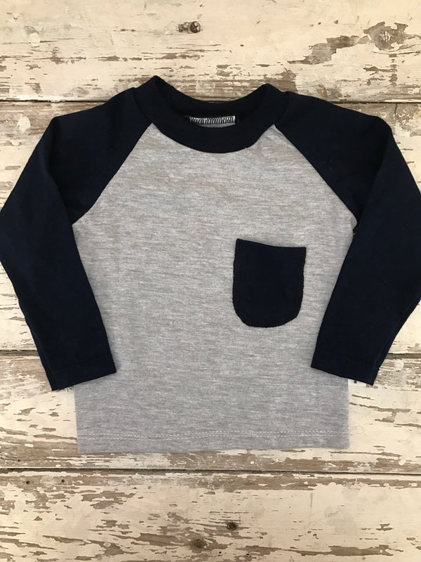Raglan: Grey & Navy