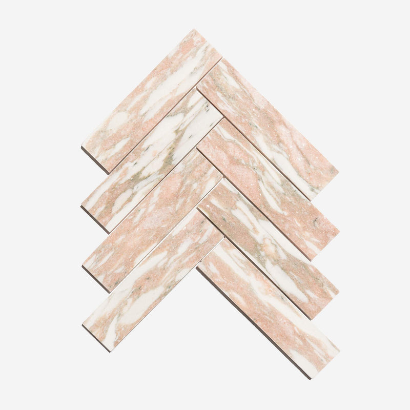 Soft Rosé - Marble Honed Herringbone