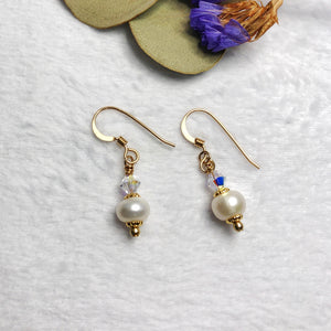 Gold Filled Fresh Water Pearl and Swarovski Crystal Earrings