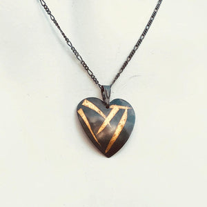 Keum Boo Heart Shaped Silver and Gold Necklace