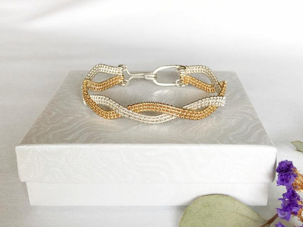 Statement Mixed Metal Woven Wire Bracelet