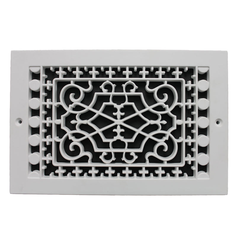 "Victorian - White Base Board Decorative Return Air Grille - 10"" in x 6"" in"