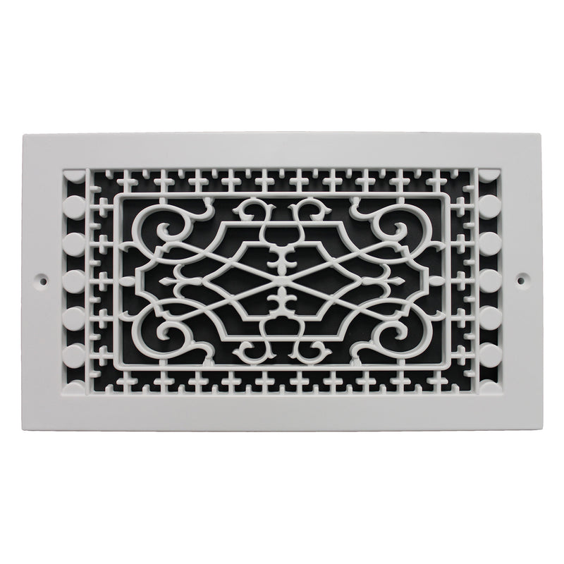 "Victorian - White Base Board Decorative Return Air Grille - 12"" in x 6"" in"