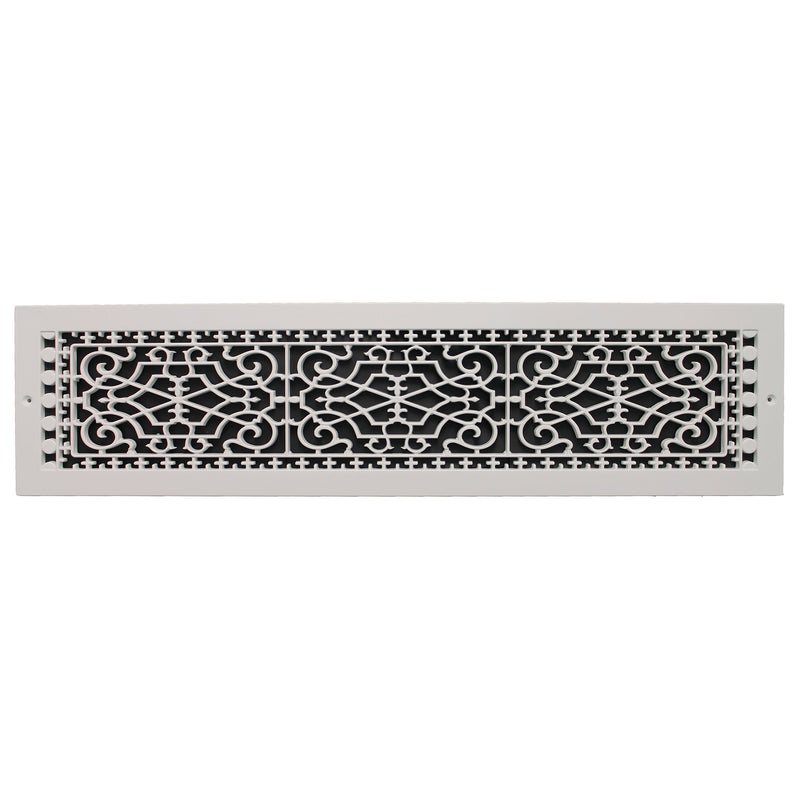 "Victorian - White Base Board Decorative Return Air Grille - 30"" in x 6"" in"