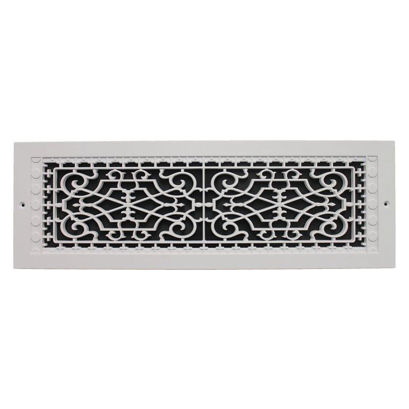 "Victorian - White Wall Mount Decorative Return Air Grille - 22"" in x 6"" in"