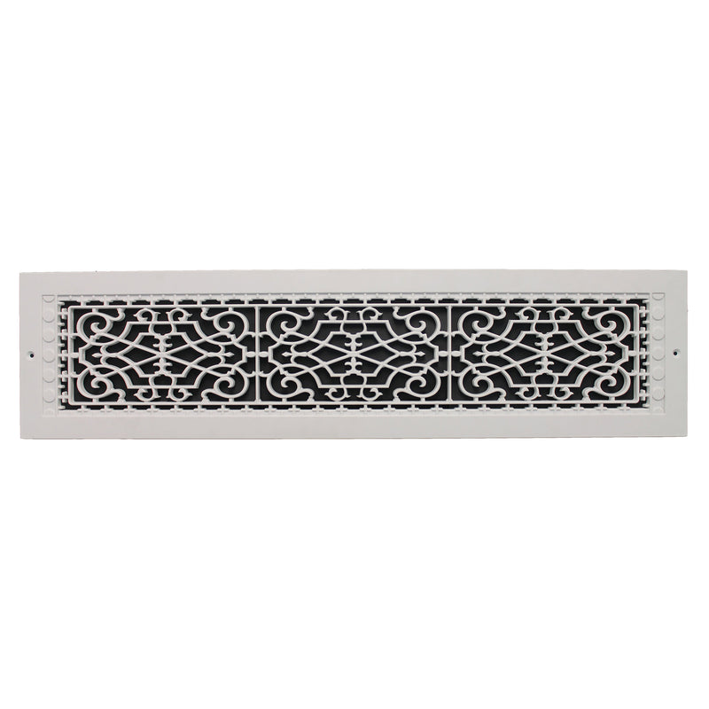 "Victorian - White Wall Mount Decorative Return Air Grille - 30"" in x 6"" in"