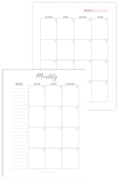 Undated Monthly Planner, Monthly Planner Printable (Digital Download)