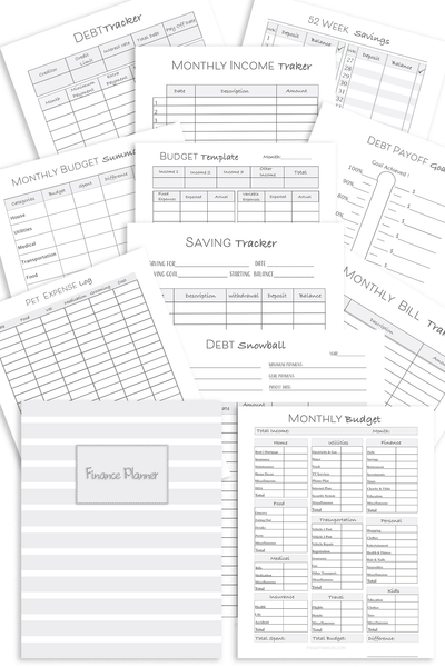 Black and White Financial Planner  {28+ Page Digital Download}
