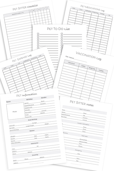 Black and White,Pet Planner, Pet Vaccination Log, Vet Appointments Log (Digital Download)