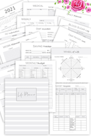 Black and White Life Planner Bundle, Undated Ultimate Life Planner (96+Page Digital Download)
