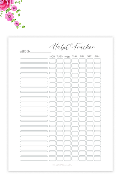 Habit Tracker Printable,  (Digital Download)