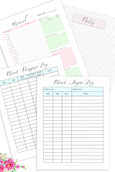 Medical Planner Printable, Blood Sugar Tracker, Blood Pressure Tracker (Digital Download)