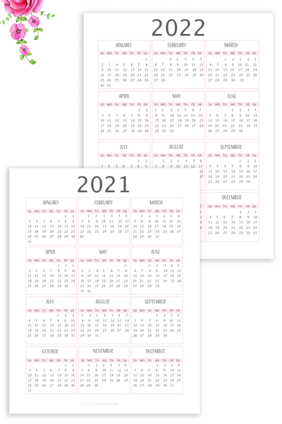 2021 Calendar Printable, 2022 Calendar Printable Digital (2+ Page Digital Download)