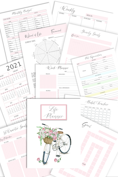 Life Planner Bundle, Undated Ultimate Life Planner (96+Page Digital Download)
