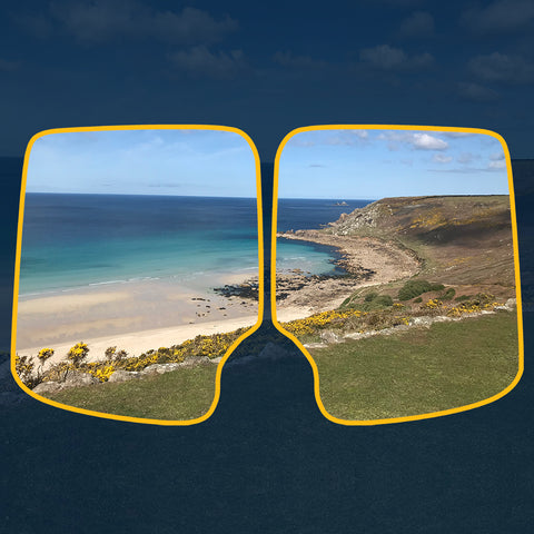 Bespoke camper van window cover blinds with your own photo, image or logo - custom designed.