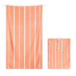 100% Recycled Quick Dry Travel Towel - Soft Peach Stripe
